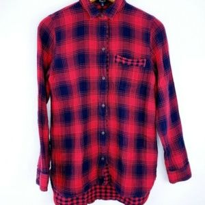 Madewell Womens Size XS Top Red Navy Plaid Flannel